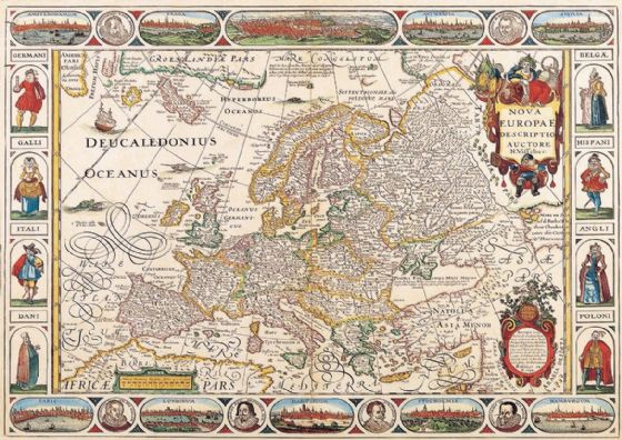 Visscher, Nicolas: Map of Europe. Antique/Vintage 17th Century Map. Fine Art Print/Poster. Sizes: A4/A3/A2/A1 (003898)